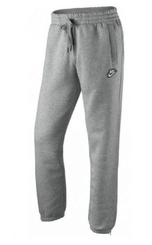 NIKE MENS FLEECE JOGGERS SWOOSH TRACKSUIT BOTTOMS CUFFED JOGGER PANT GREY